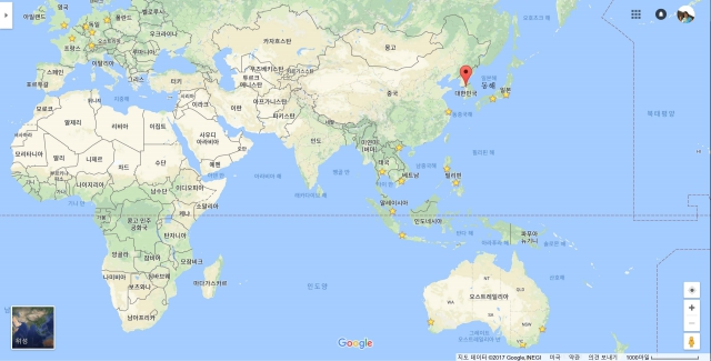 노란별표는 아시아,태평양,유럽 강연 지역