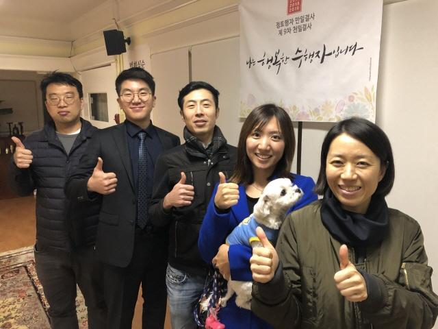 한자리에 모인 청년 도반들 (왼쪽부터 안형진, 채재현, 김시형, 김미선, 김혜경 님)