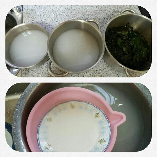 이영옥 님 쌀뜨물, 불려놓은 미역, 쌀뜨물 설거지 사진