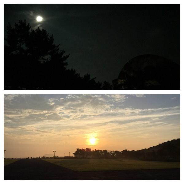 새벽 4·3 평화공원에서 기도를 시작할 때 맞이해준 보름달, 기도를 마치고 난 후 떠오른 태양