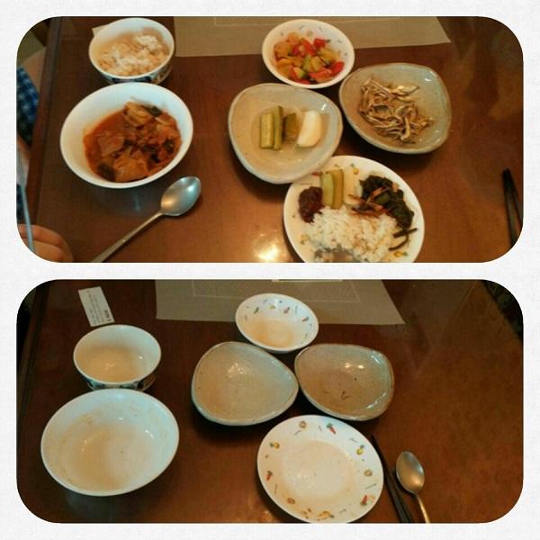 김수녀 님 식사 전후 사진