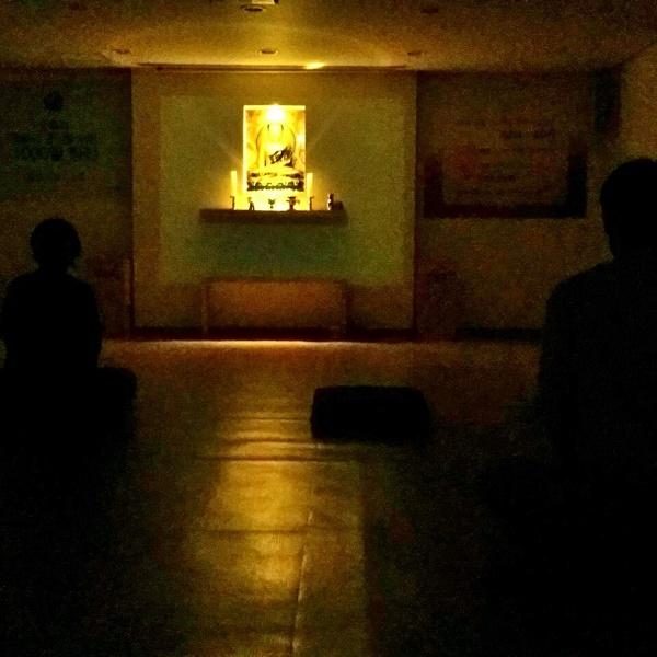 부처님 아래 단정히 앉아 명상 수련 중인 도반들