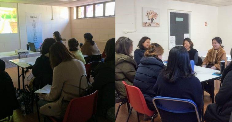 매주 화요일 체육관(Graham Spicer Institute)에서 뉴몰든 불교대학 수업을 합니다.